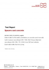 Spacers cast concrete test report according to DIN1048