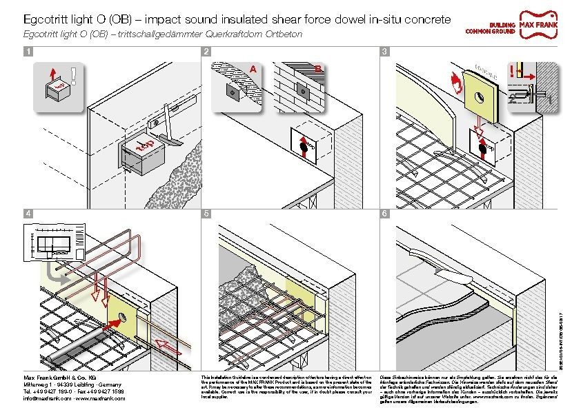 Impact sound insulated shear force dowel Egcotritt light O (OB) – in-situ concrete