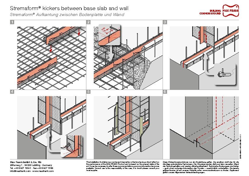 Formwork element for working joints Stremaform® kickers between base slab and wall