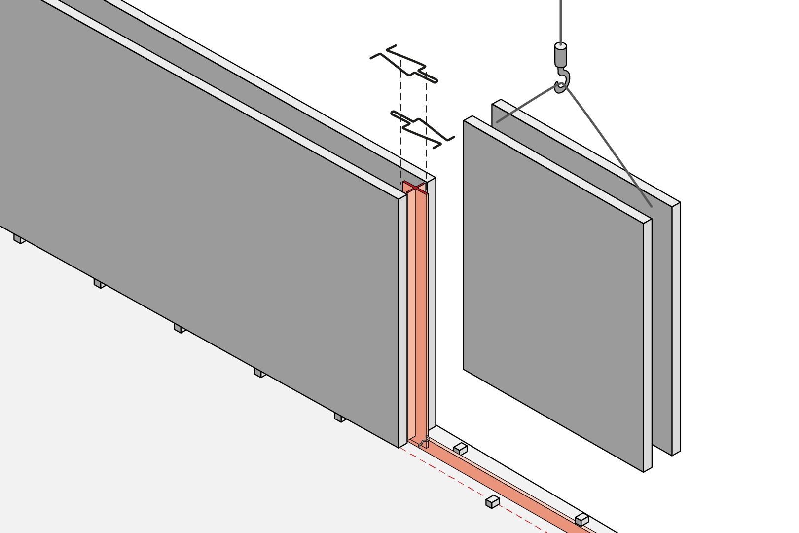 Butt Joint With Coated Metal Waterstop - Element Wall