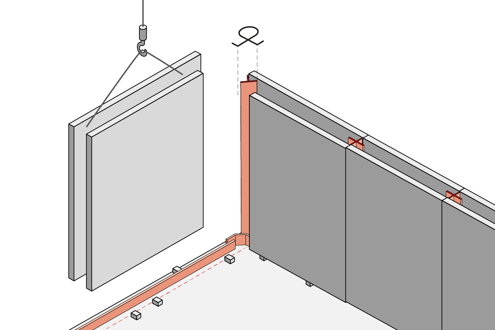 Corner Butt Joint With Coated Metal Waterstop - Element Wall