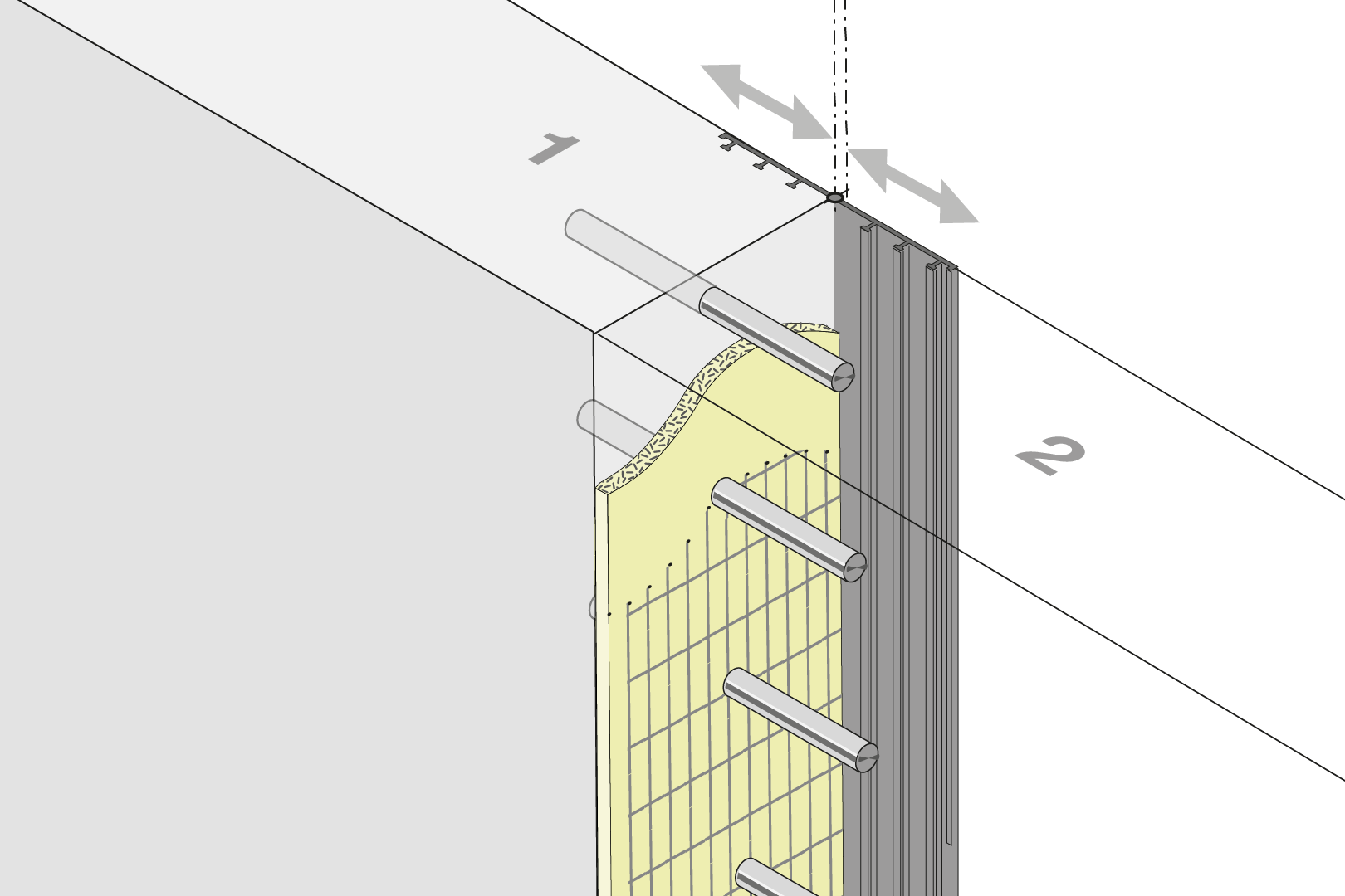 Expansion Joint Formwork Element With External Seal And Dowels - Wall