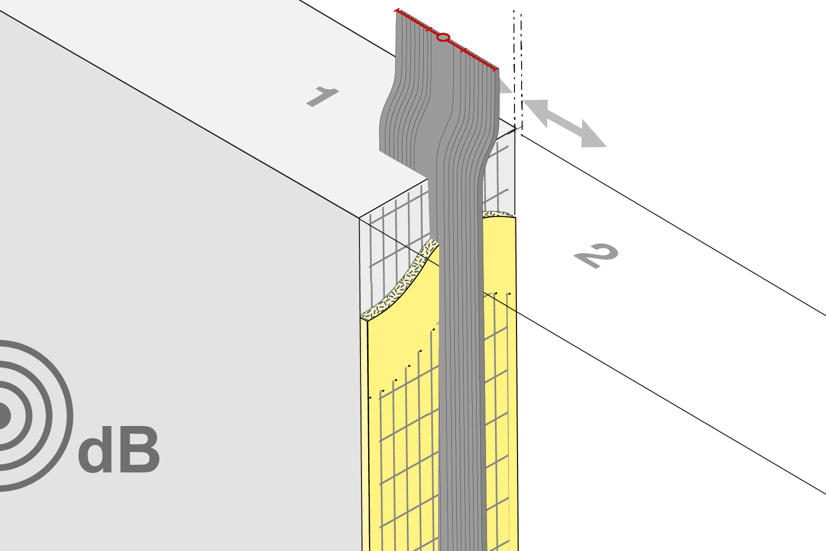 Sound Insulation Joint Formwork Element With Seal - Wall