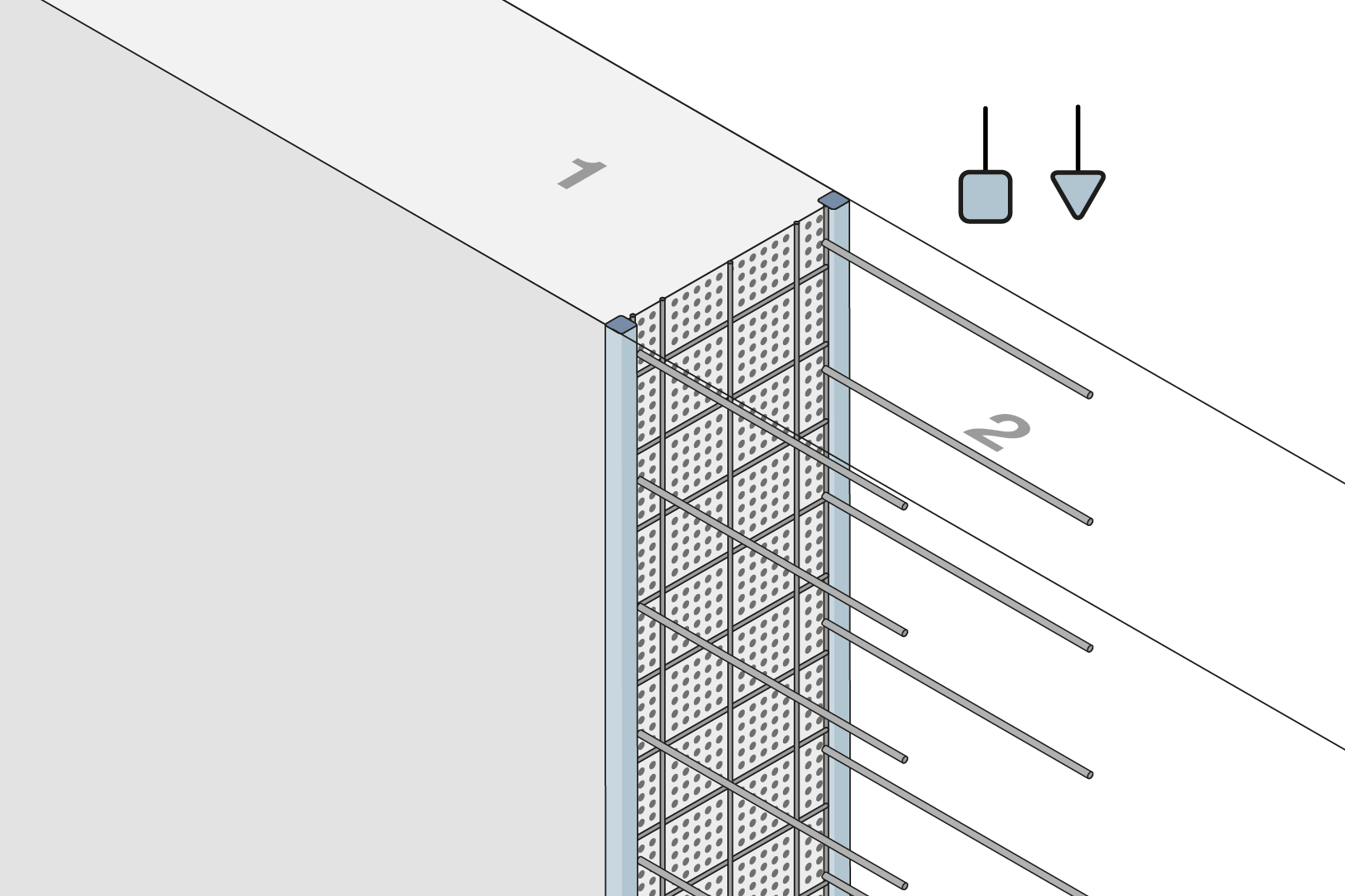 Construction Joint Formwork Element With Fibre Concrete Rail - Wall