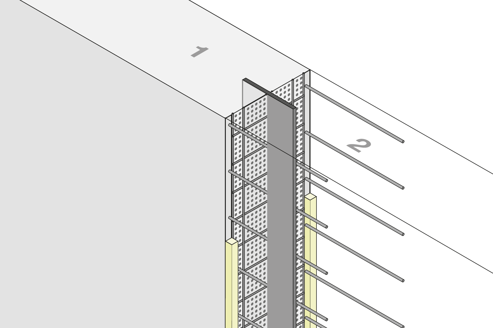 Construction Joint Formwork Element With Metal Waterstop - Wall