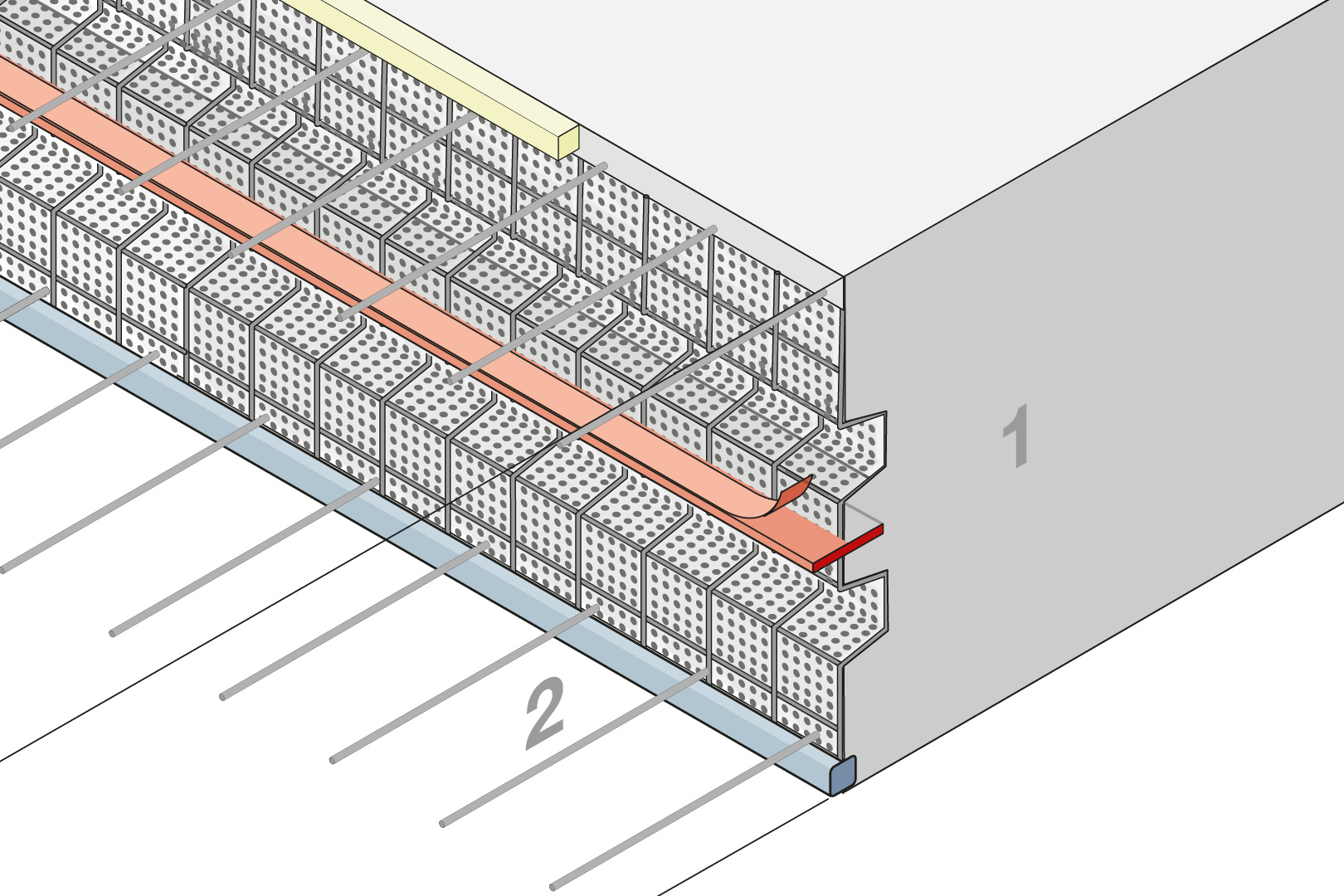 Construction Joint Formwork With Indentation And Coated Metal Waterstop - Slab