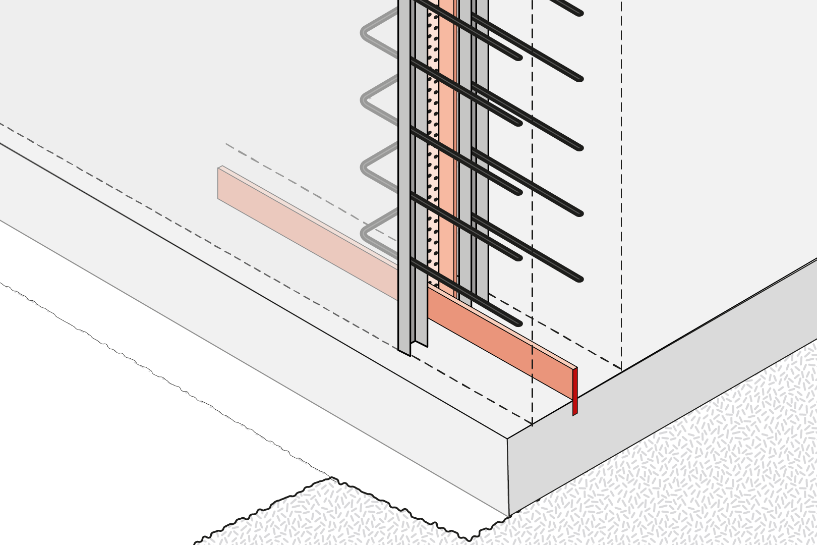 Construction Joint With Reinforcement Connection For Force Transmission And Coated Metal Waterstop