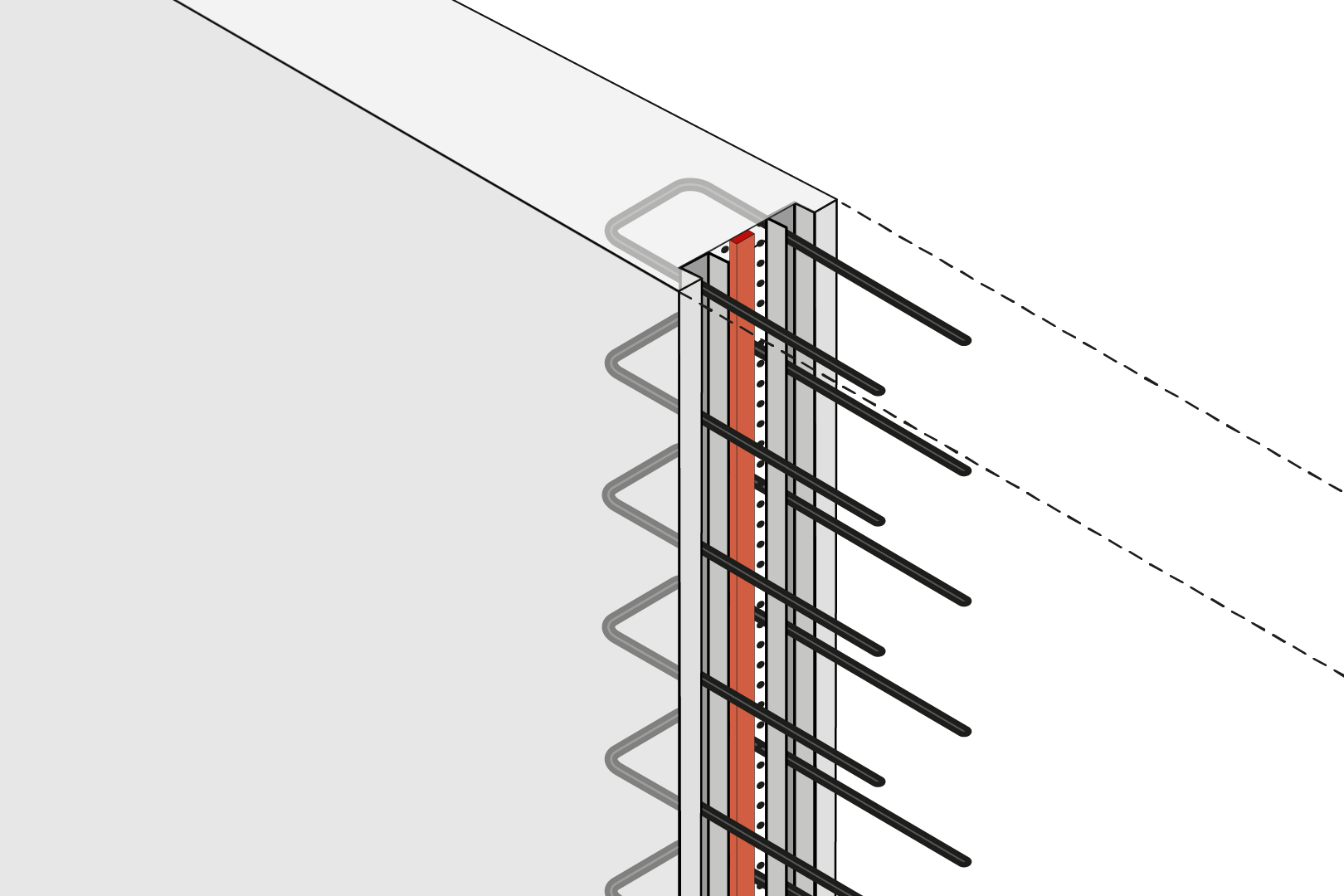 Construction Joint With Reinforcement Connection For Force Transmission And Expanding Waterstop