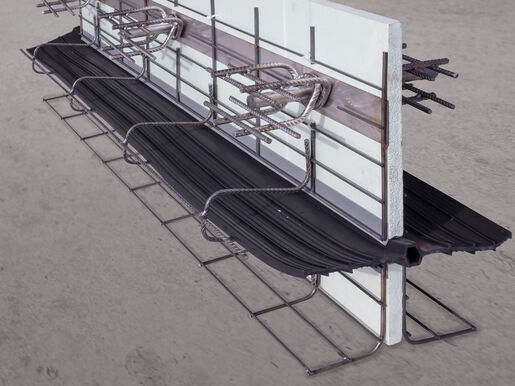 Formwork elements for expansion joints Stremaform® with rubber water bar cage and shear force transmission