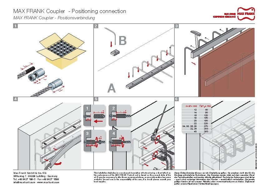 MAX FRANK Coupler Positioning connection