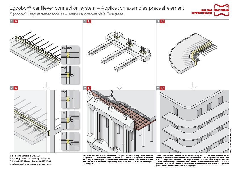 Cantilever connection system Egcobox® – Application examples precast element