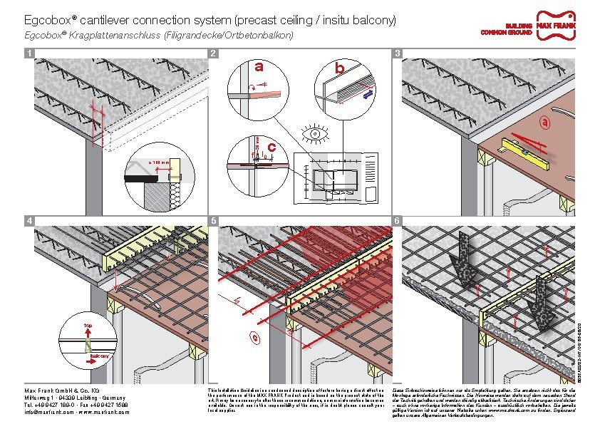 Cantilever connection system Egcobox® precast ceiling/insitu balcony