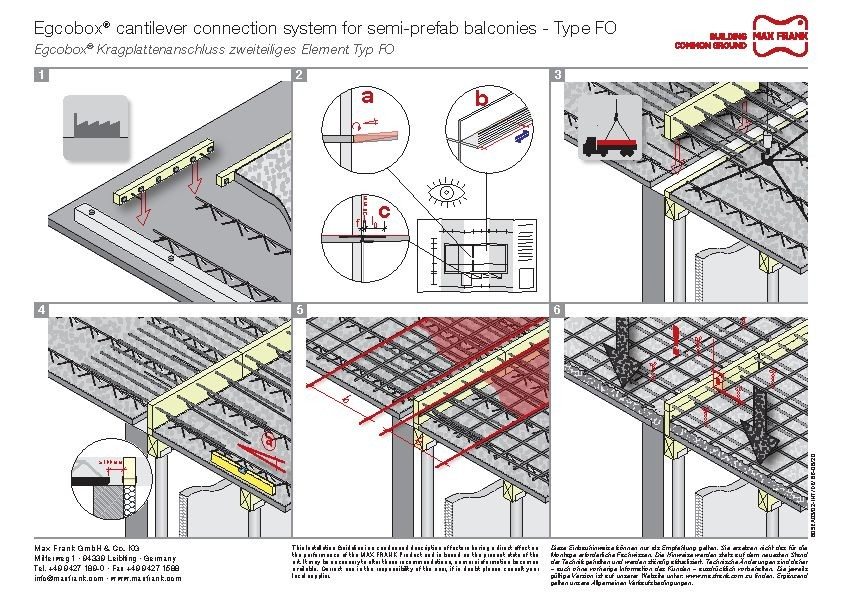 Cantilever connection system Egcobox® for semi-prefab balconies type FO