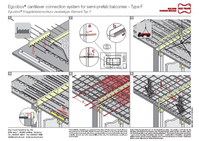 Cantilever connection system Egcobox® for semi-prefab balconies type F