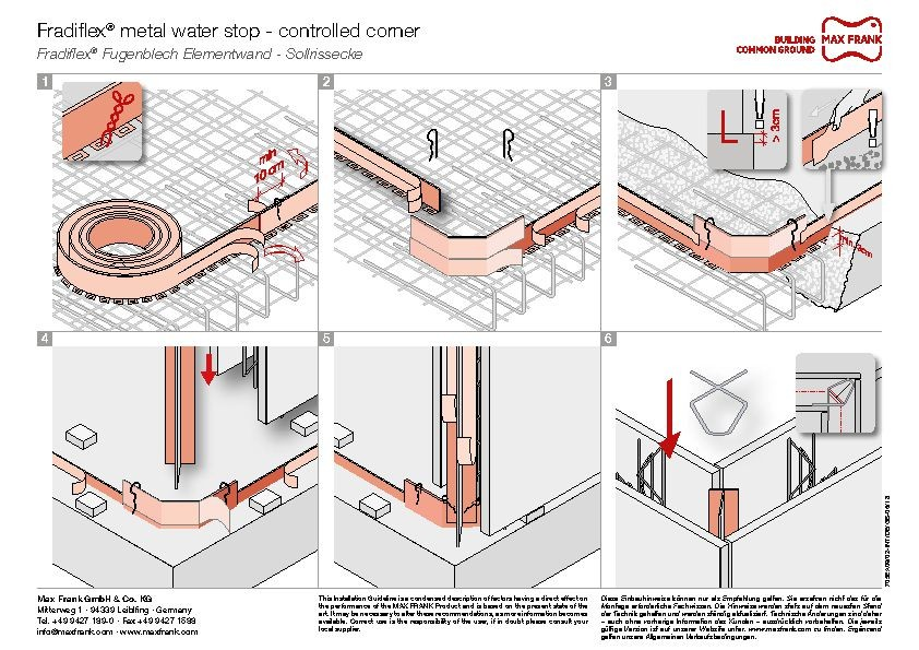 Metal water stop for element walls Fradiflex® controlled corner