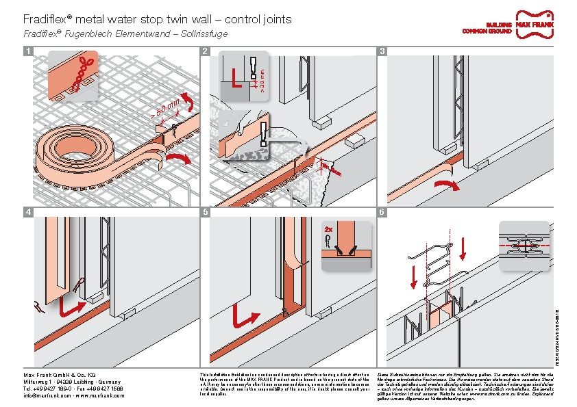 Metal water stop for element walls Fradiflex® – control joints