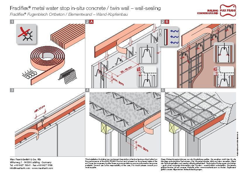 Metal water stop Fradilfex® wall-sealing