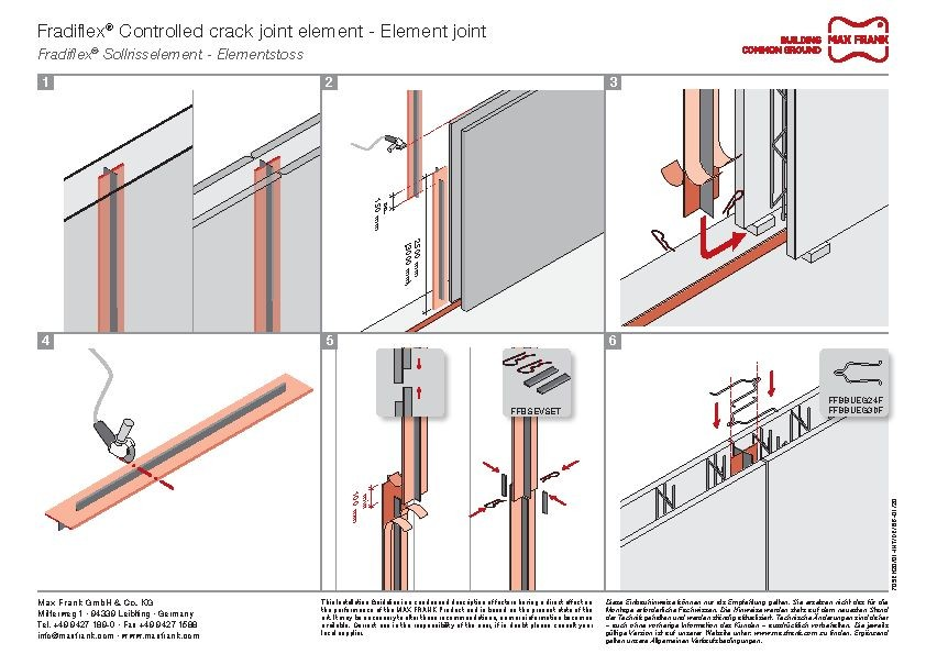 Metal water stop for element walls Fradiflex® controlled crack joint element - element joint