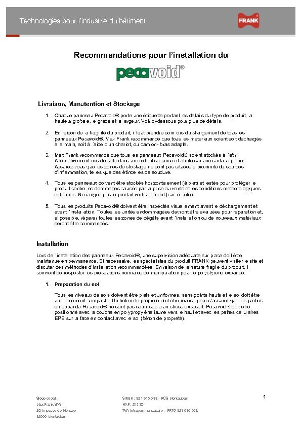 Pecavoid® - Recommendations stockage, manutention et installation
