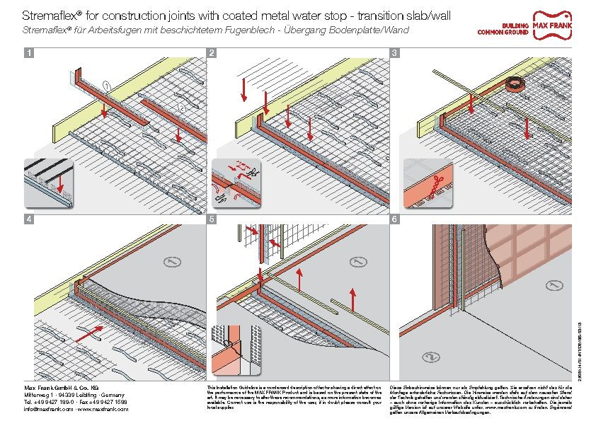 Formwork element for working joints Stremaflex® with coated metal water stop - transition slab/wall