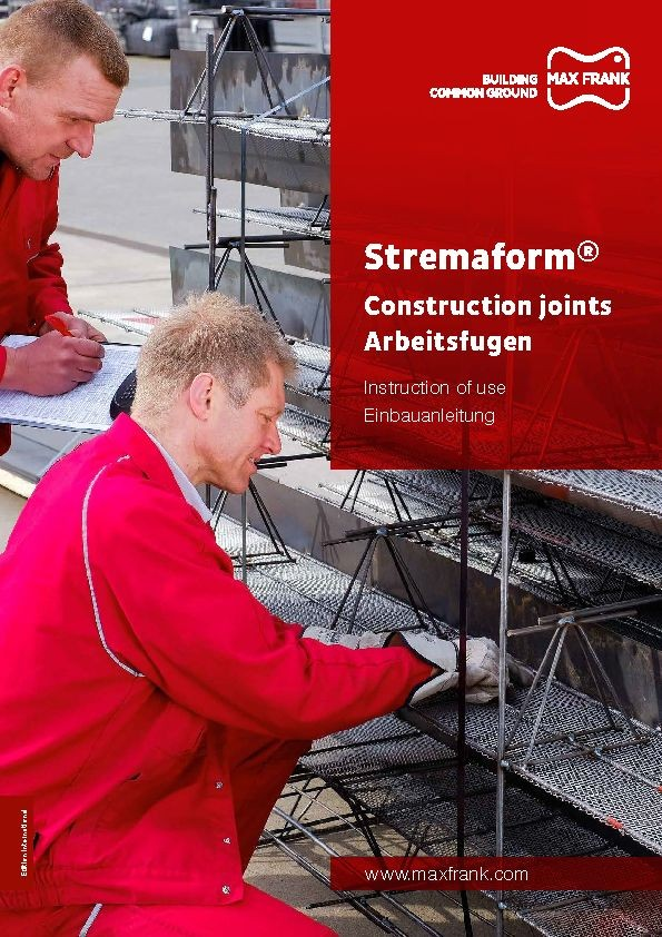 Formwork element for working joints Stremaform®