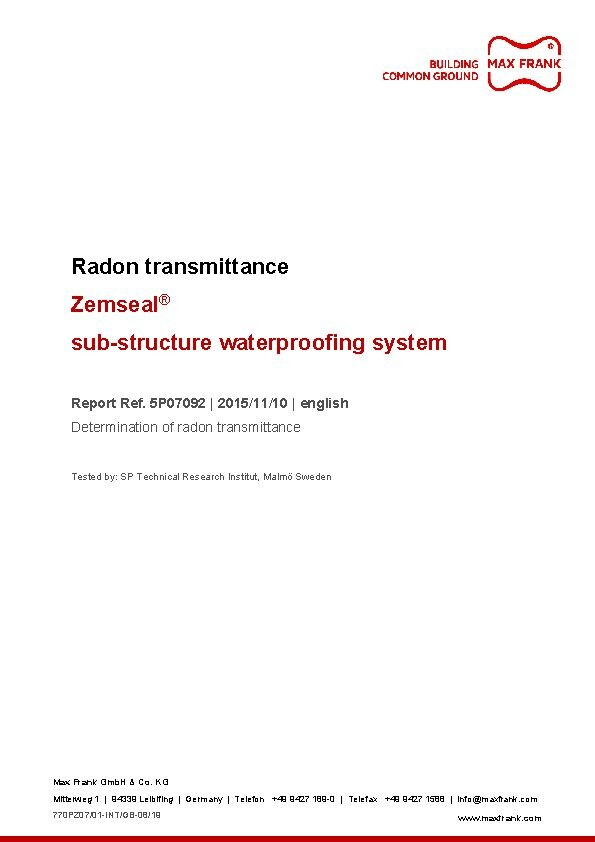 Sub-structure waterproofing system Zemseal® radon transmittance
