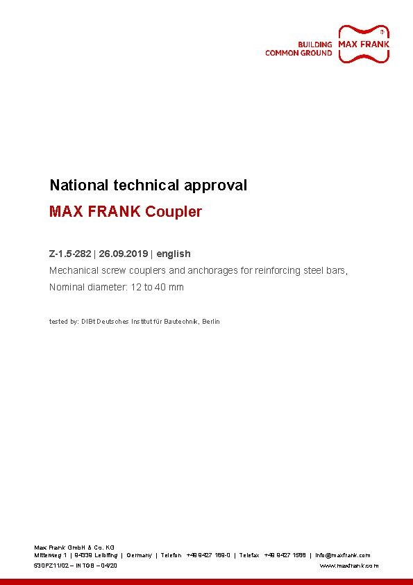 Approval MAX FANK Coupler threaded connection, DIBt Z-1.5-282