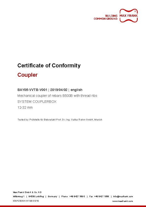 Coupler - Certificate of Conformity