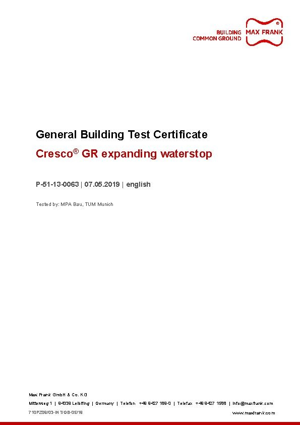 Expanding waterstop Cresco® GR General Building Test Certificate