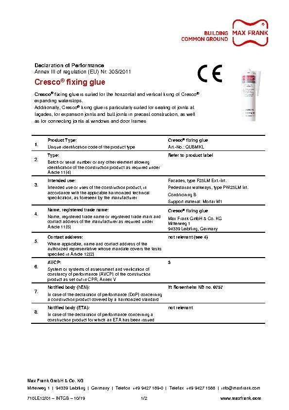 Expanding waterstop Cresco® fixing glue declaration of performance