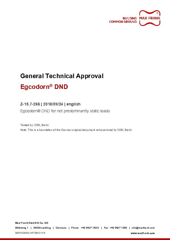 Egcodorn® DND General technical approval Z-15.7-266