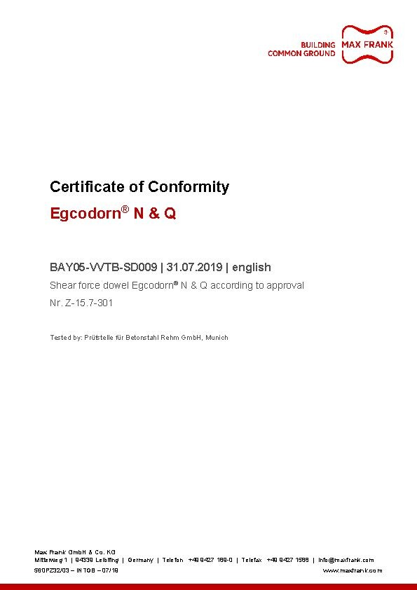 Egcodorn® for longitudinal and lateral movement - Certificate of conformity
