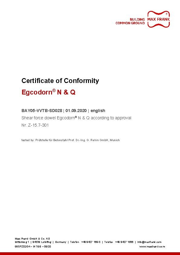 Shear force dowel Egcodorn® N + Q Certificate of Conformity