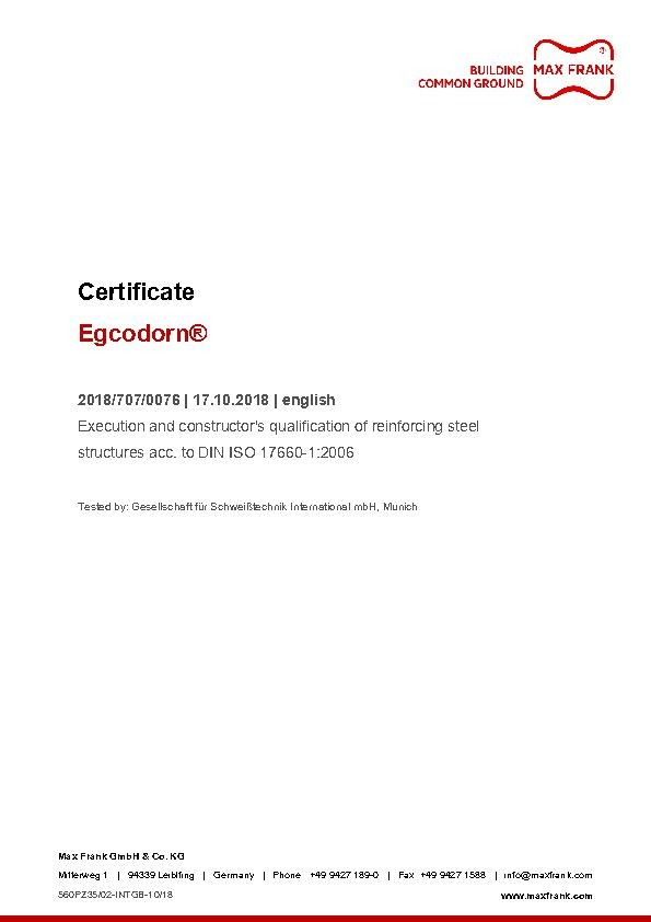Egcodorn® Execution and constructor's qualification of reinforcing steel structures acc. to DIN ISO 17660-1:2006