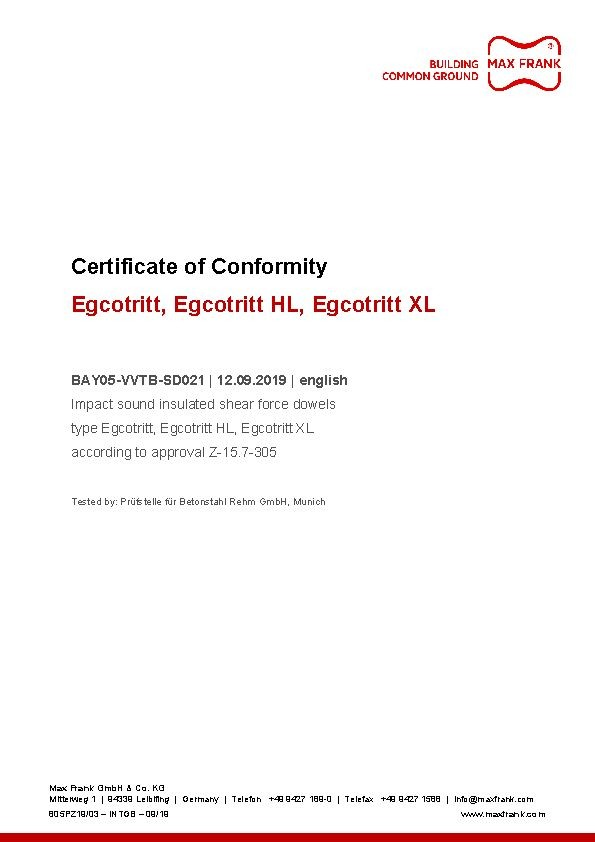 Impact sound insulated shear force dowels Egcotritt certificate of conformity