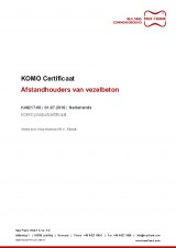 KOMO attestation with product certificate (Dutch) for cement-bondes spacers