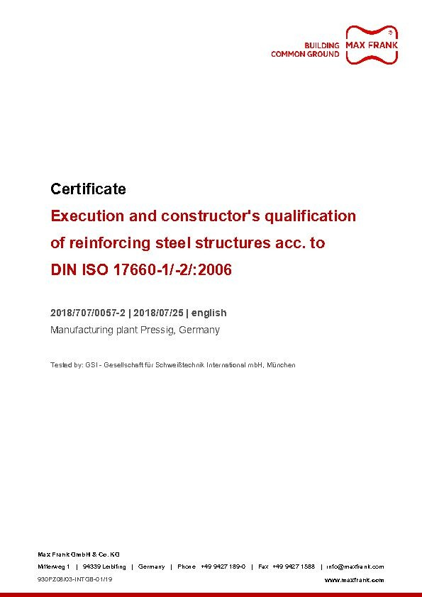 Execution and constructor's qualification of reinforcing steel structures