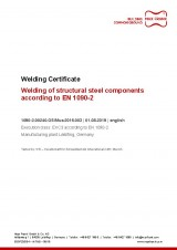 Welding Certificate EXC3 according to EN1090-2