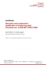 Execution and constructor's qualification of reinforcing steel structures acc. to DIN ISO 17660-1:2006