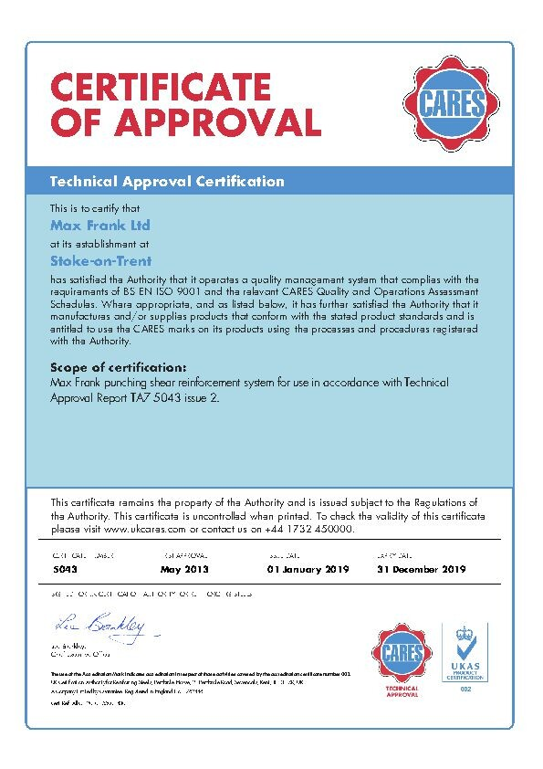 Punching Shear Reinforcement Shearail® CARES TA Certificate