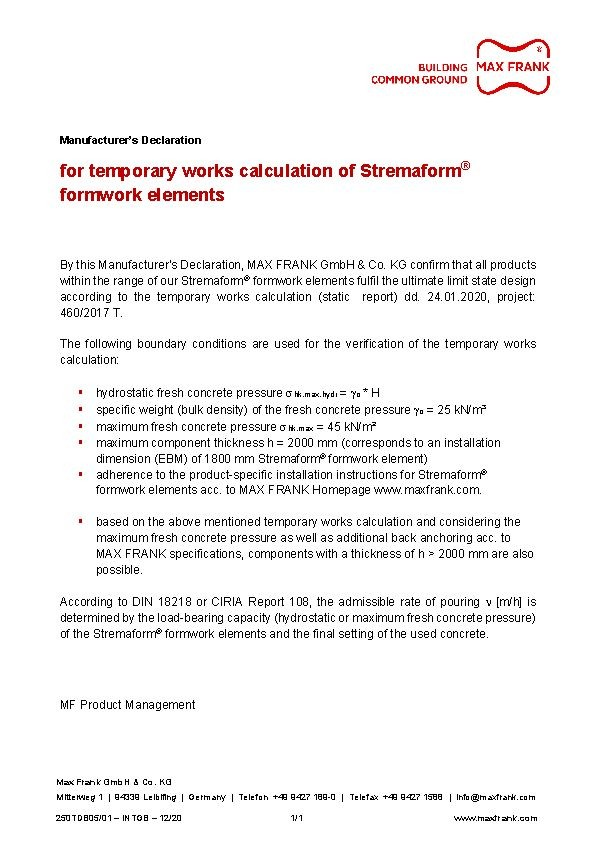 formwork elements Stremaform® manufacturers declaration (temporary works calculation)