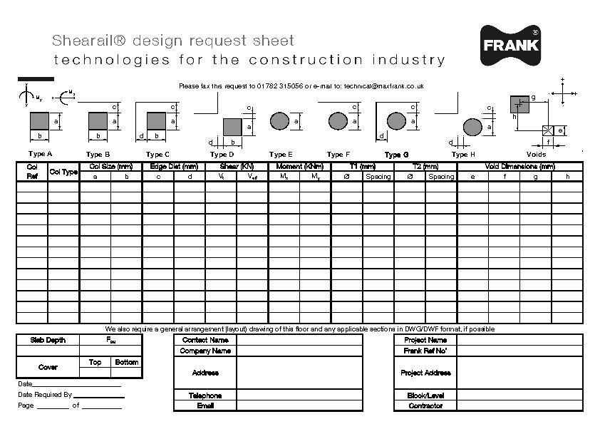 Shearail® design request sheet