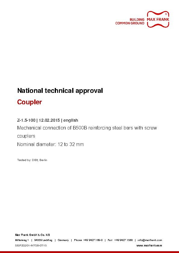 Coupler - National technical approval c