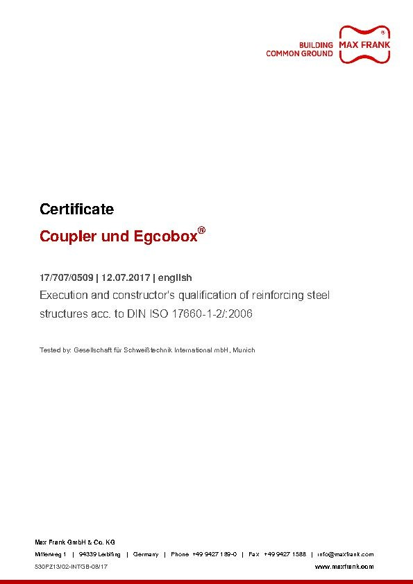 Coupler and Egcobox® - Execution and constructor's qualification of reinforcing steel structures acc. to DIN ISO 17660-1-2/:2006