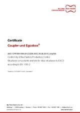Coupler and Egcobox® - Conformity of the Factory Production Control