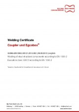 Coupler and Egcobox® - Welding of steel structural components according to EN 1090-2