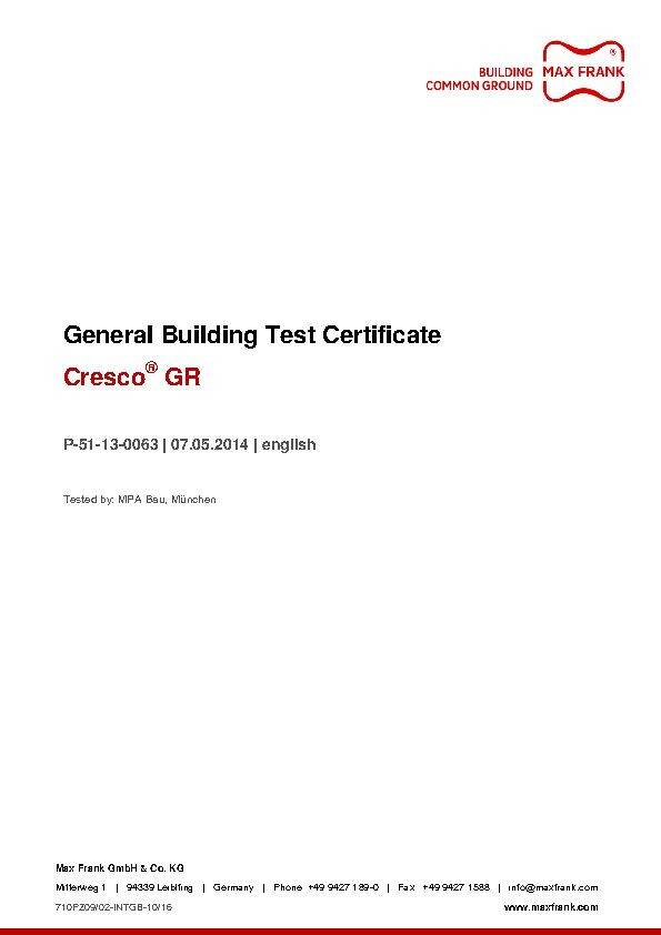 Expanding waterstop Cresco® GR - General Building Test Certificate