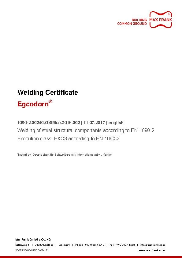 Egcodorn® Welding Certificate EXC3 according to EN1090-2