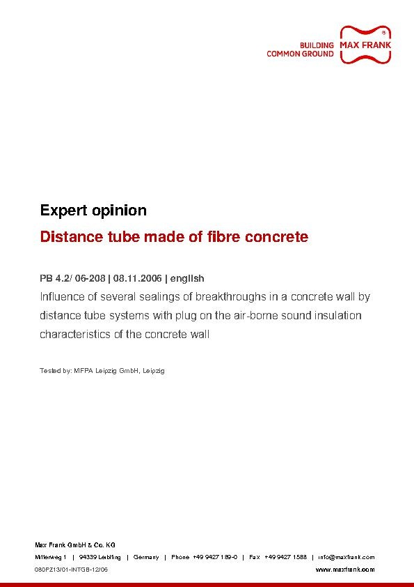 Distance tube made of fibre concrete Expert opinion