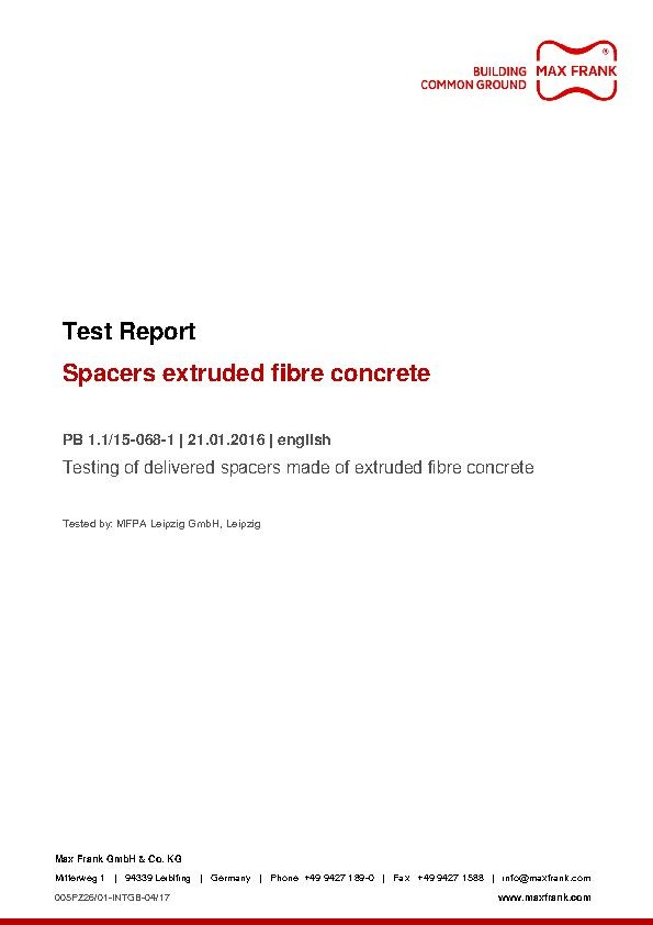 Spacers extruded fibre concrete test report